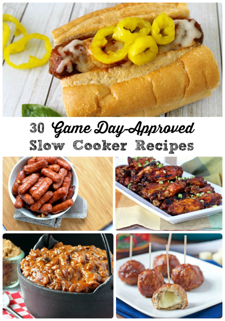 30 Game Day-Approved Slow Cooker Recipes via thefrugalfoodiemama.com - from appetizers to chilis to sandwich fixings & more!