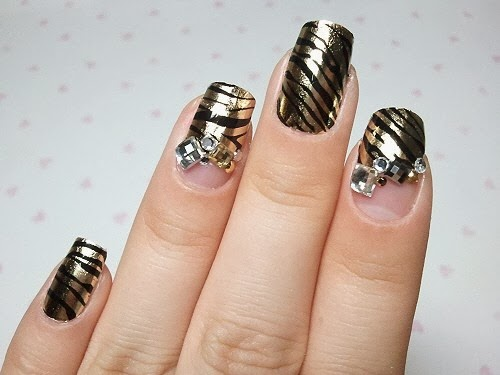 one hundred styles black and gold nail art designs