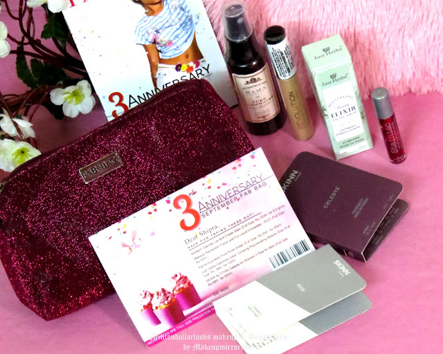 Fab Bag September 2015: Review, Pictures & Price, 3rd anniversary special fab bag september 2015 unboxing and review, WHat's inside fab bag, Indian makeup and beauty blog, Indian beauty blogger,  Just herbs gotukola indian ginseng rejuvenating beauty elixir, Kama ayurveda pure rose water, Skinn,Makeup revolution liquid concealer, The balm cosmetics stainiac lip & cheek stain