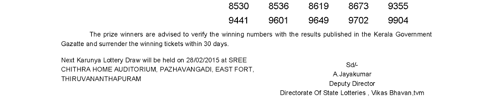 KARUNYA Lottery KR 178 Result 21-2-2015