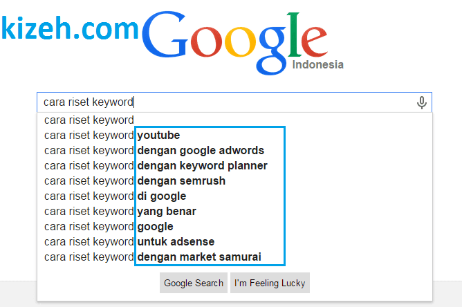 Tampilan google suggestion