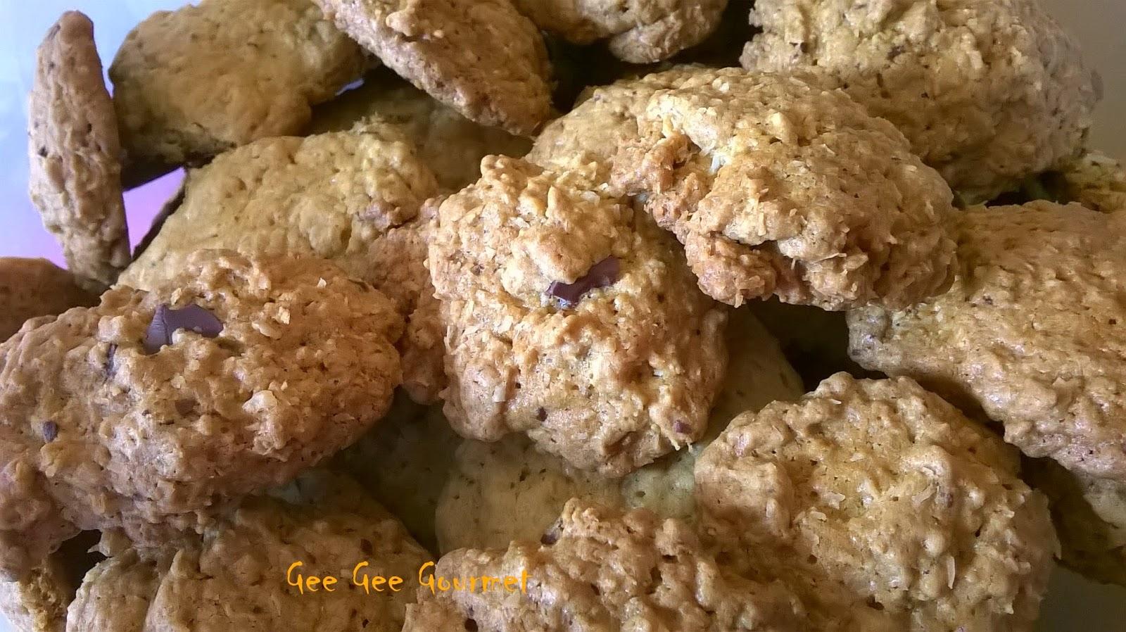 Μπισκότα με βρώμη, καραμέλα και σοκολάτα