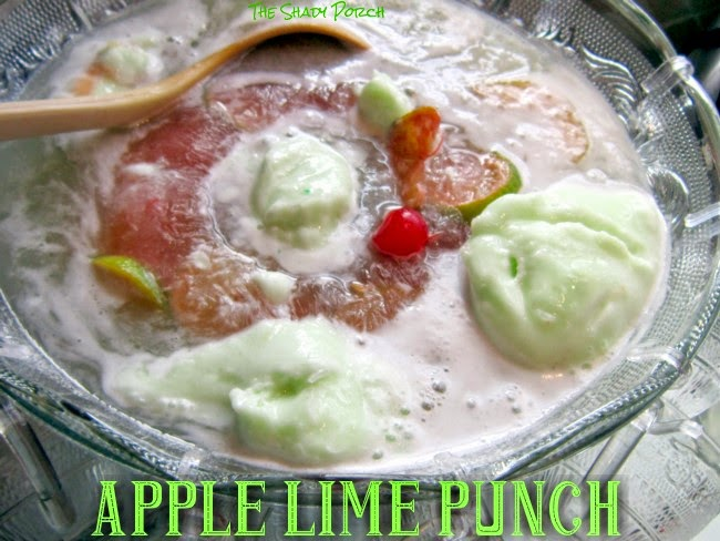 adding the sherbet to the Apple Lime Punch