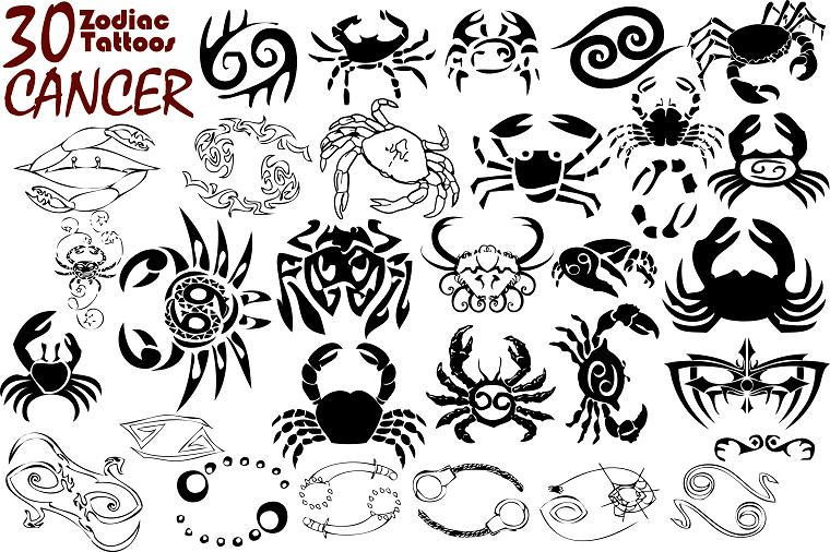 Cancer Zodiac Sign Tattoo Designs