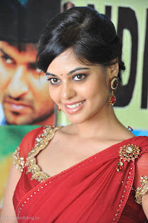 Bindu Madhavi in a red Choli Red Saree Spicy Pictures at Pilla Zamindar 50days Celeberation