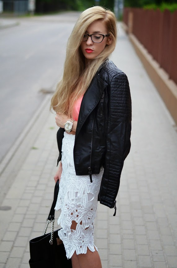 leather biker jacket, neon crop top, lace high low skirt, calvin klein bag