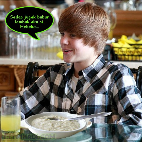 justin bieber eating pooridge malaysia bubur
