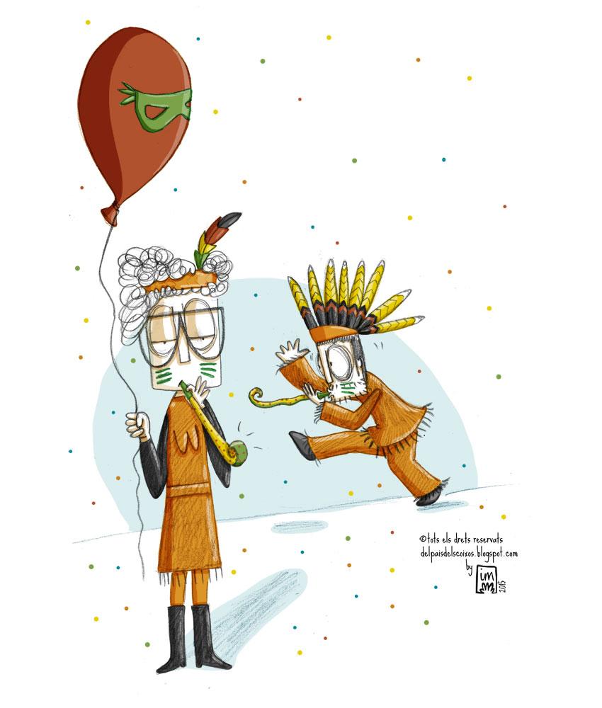 Comença la setmana del Carnestoltes. Nova il·lustració pel webcòmic Del país dels coixos. ©Imma Mestre Cunillera