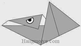 Bước 9: Vẽ mắt để hoàn thành cách xếp con thằn lằn bay Preranodon bằng giấy origami đơn giản