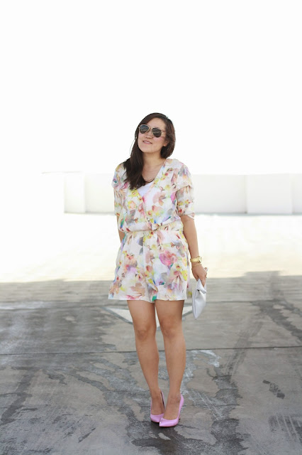 simplyxclassic, floral romper, romper, nordstrom romper, pink pumps, pink heels, grey clutch, oc blogger, fashion blogger, style blogger, mommy blogger, mom style, orange county, california,