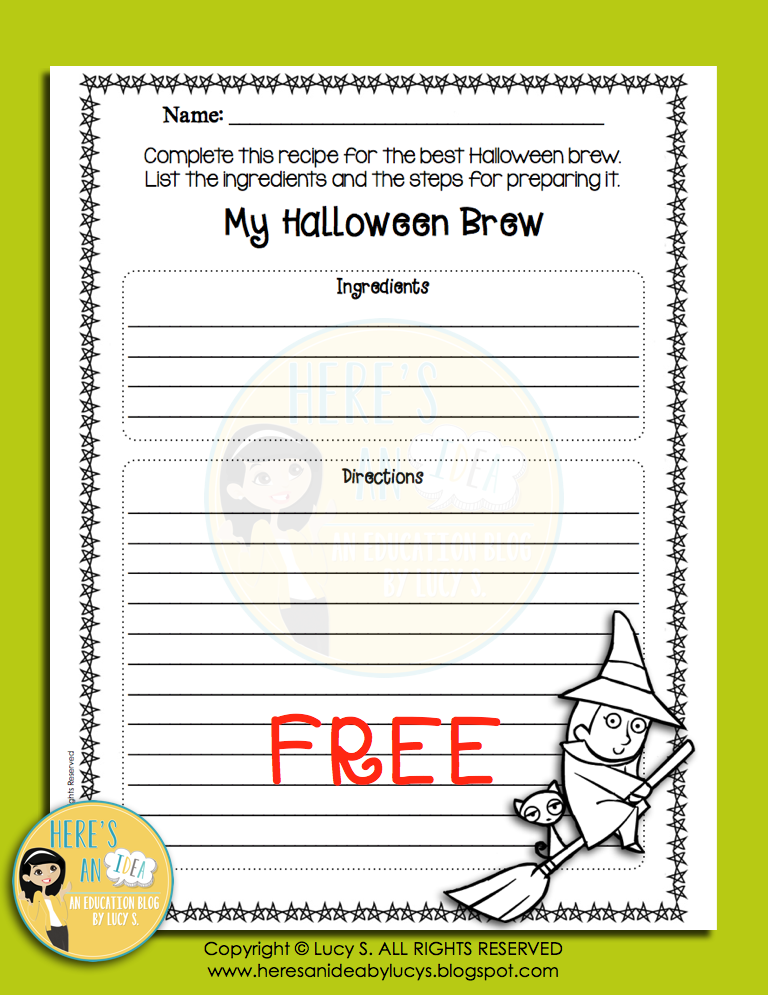 FREE Halloween Brew Worksheet - procedural writing worksheet