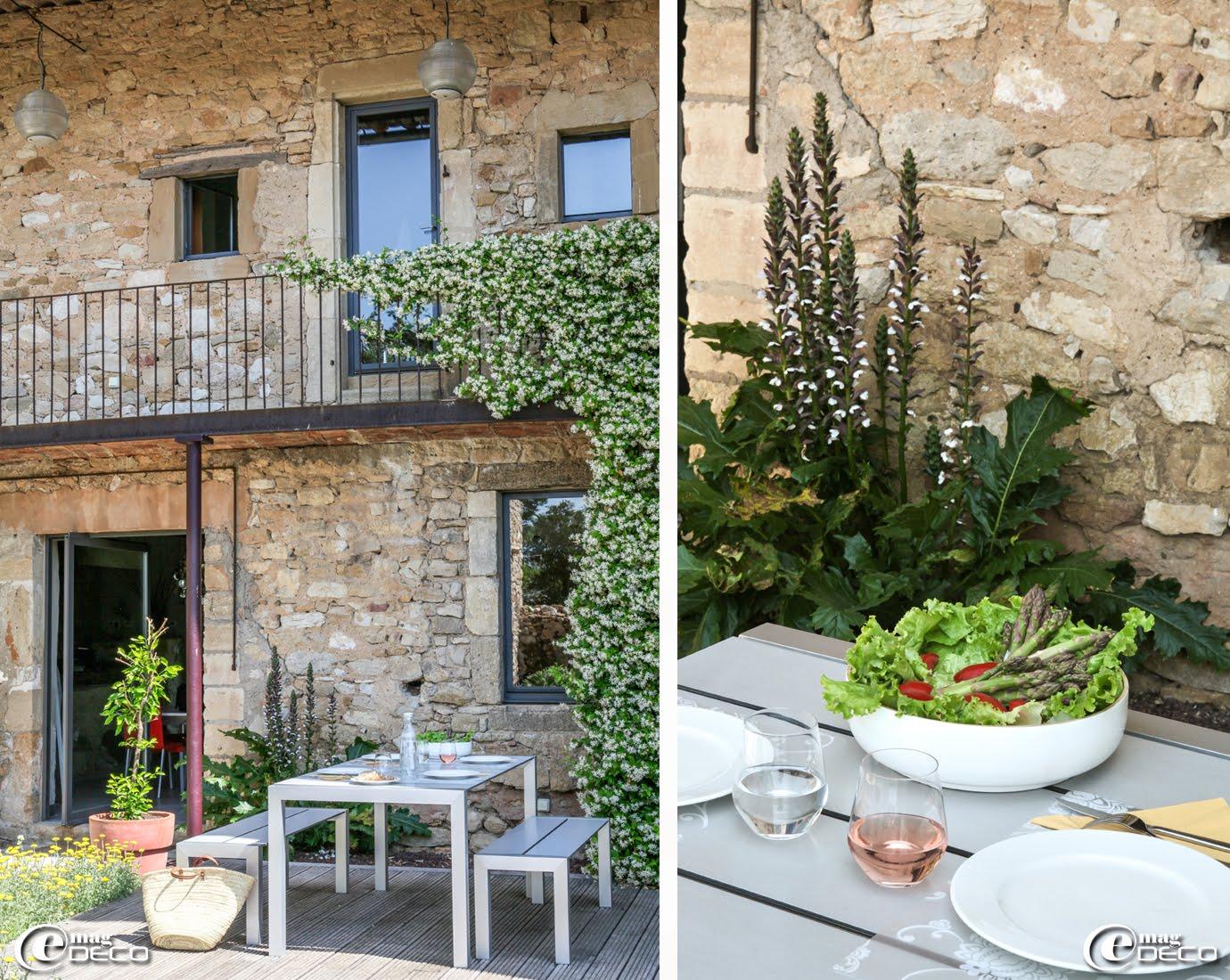 Table et bancs Sushi, marque Krislalia, en lattes de laminé stratifié AluCompact à La Maison d'Ulysse, maison d'hôtes de chrame dans le Gard