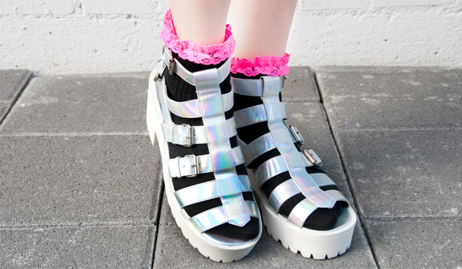 Hologram shoes, chunky sandals, Desire Clothing Uk