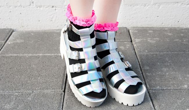 Hologram shoes, chunky sandals, Desire Clothing Uk