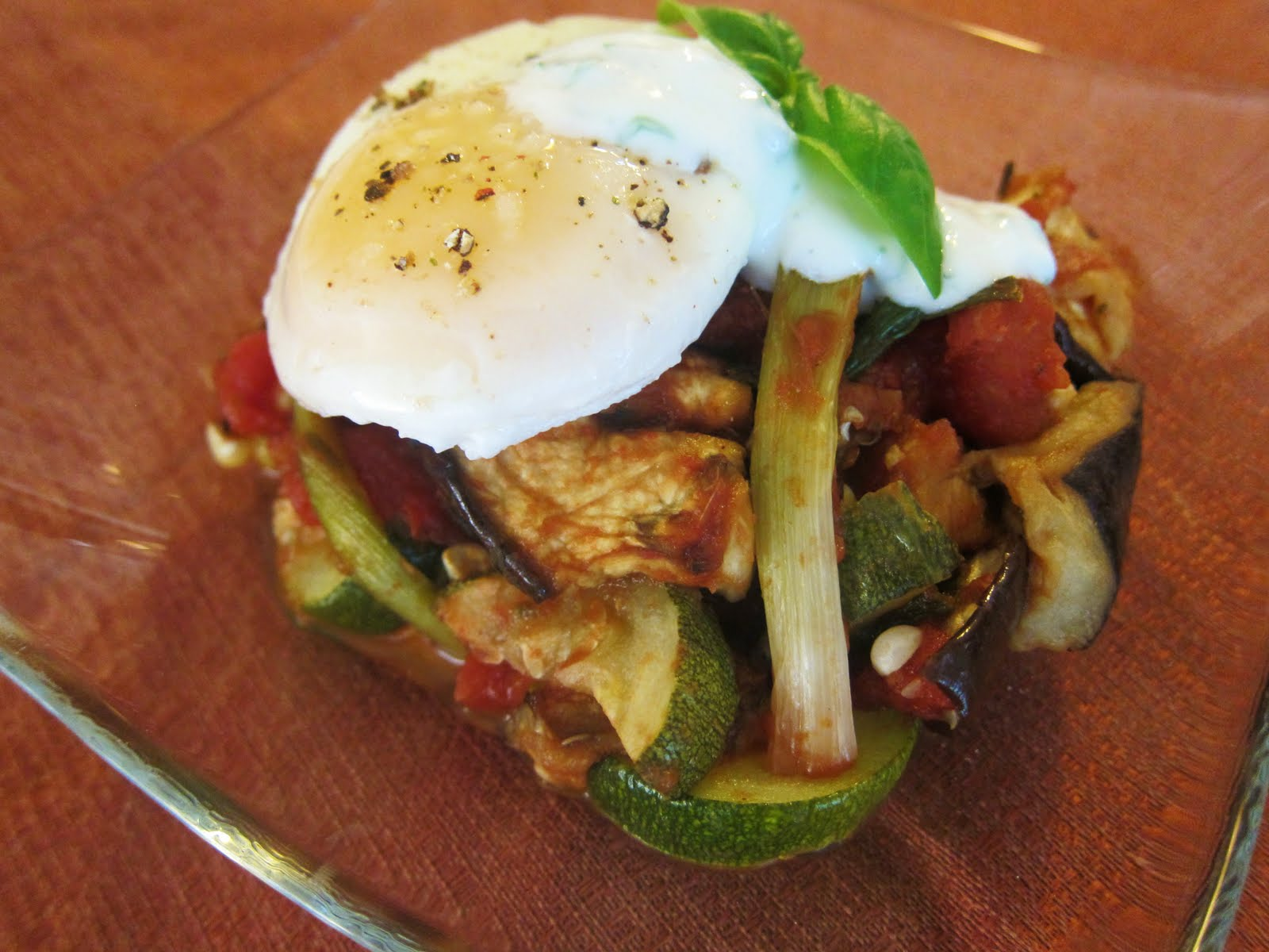 ... of Roasted Summer Vegetables with Poached Eggs and Basil Chevre Cream