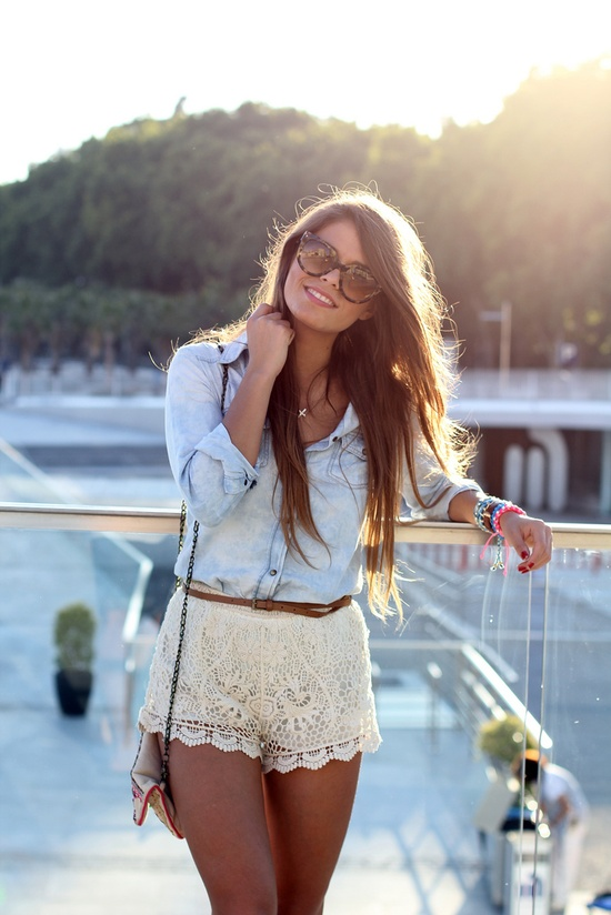 Lace mini skirt and jean shirt for summers