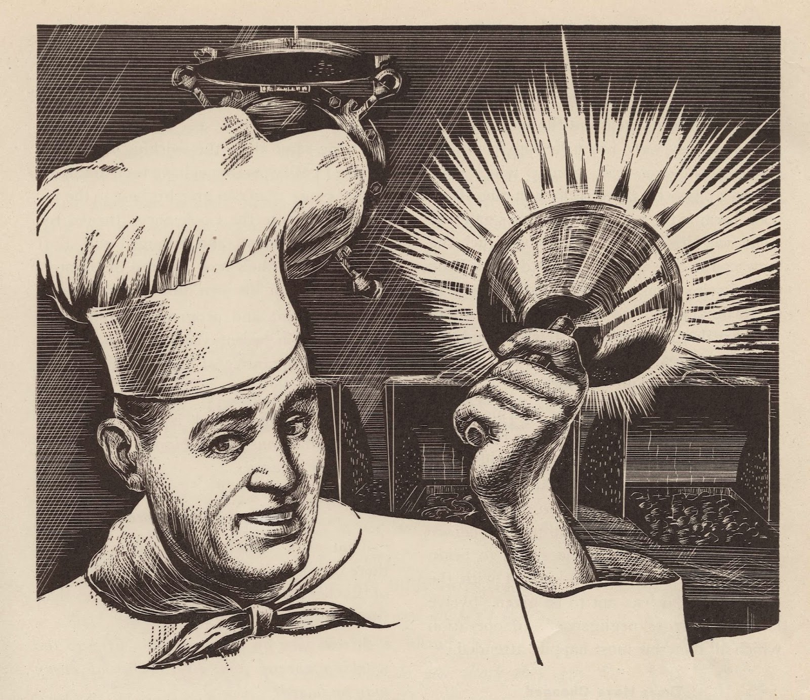 Illustration of man in chef's hat ringing a dinner bell