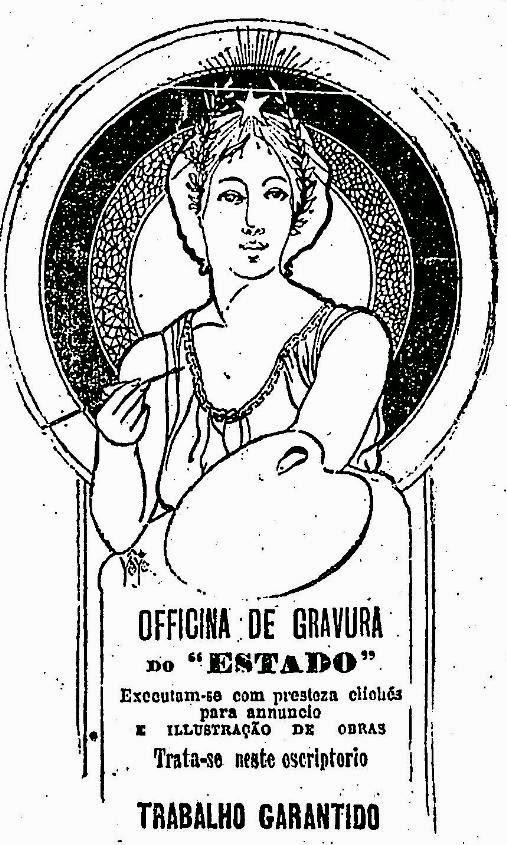 Propaganda da oficina de gravura do jornal O Estado de São Paulo em 1908.