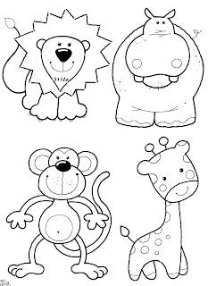 Desenhos Preto e Branco Piu-Piu Tigre, Rinoceronte e leão Colorir