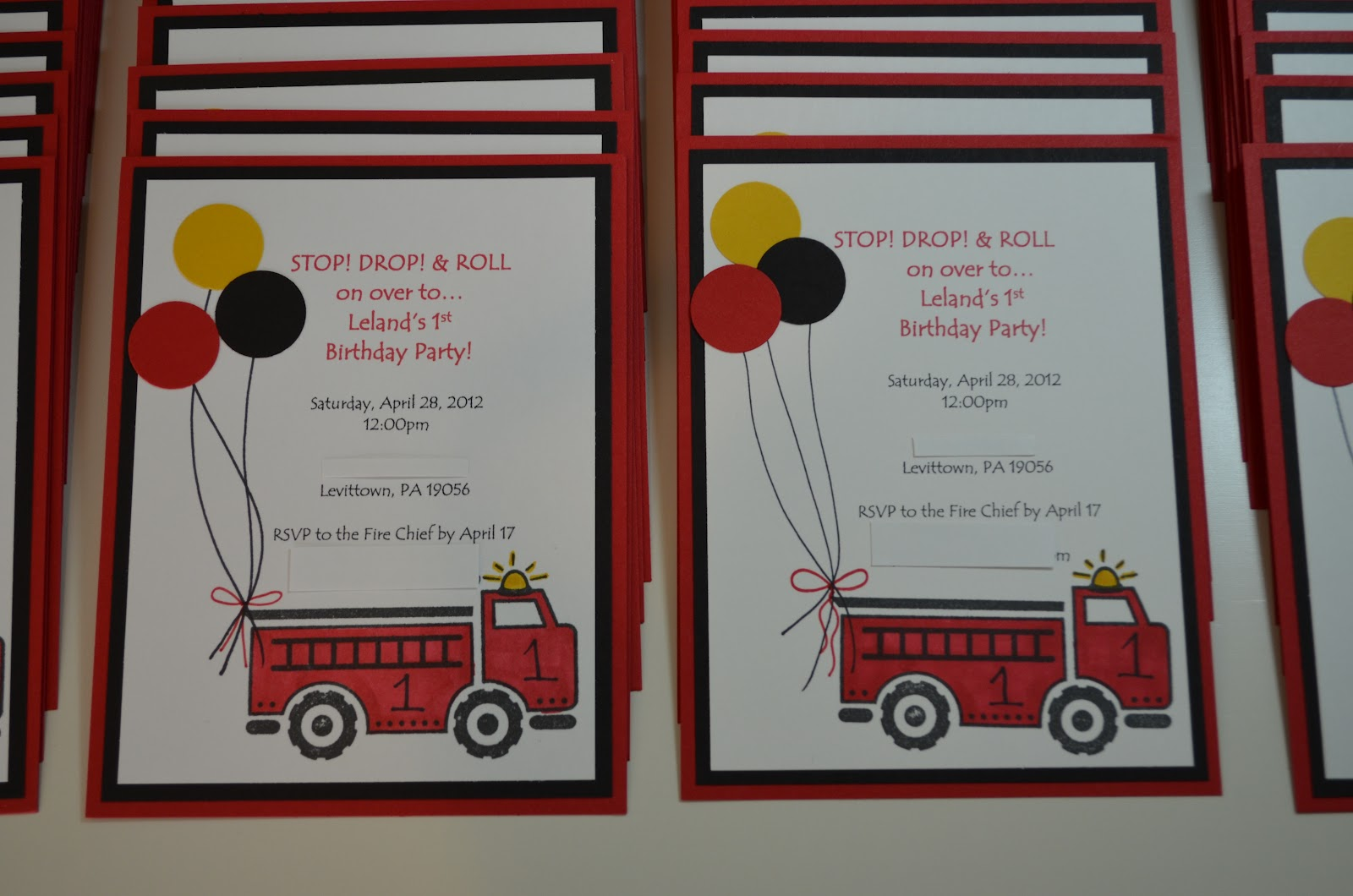 Paper, Pansies and Pachyderms: Fire Truck Birthday Invites