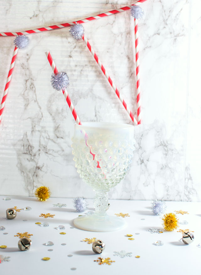 tinsel pom pom holiday straw