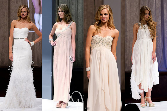 Luxurious evening gowns in buttery creams and angelic whites with a