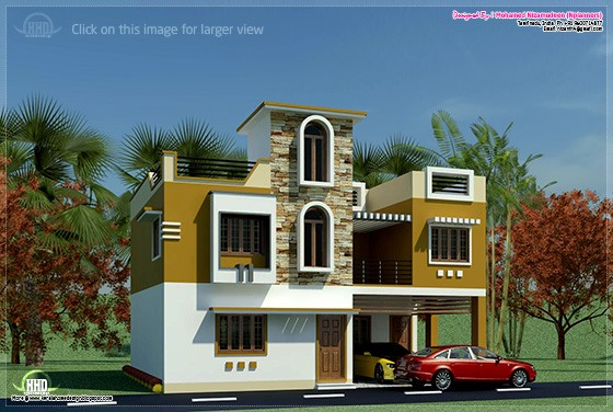 South indian minimalist 1600 sq ft house exterior for Home models in tamilnadu pictures
