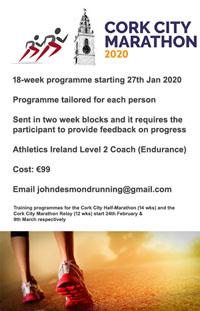 Start of a 18-wk training programme for the Cork City Marathon