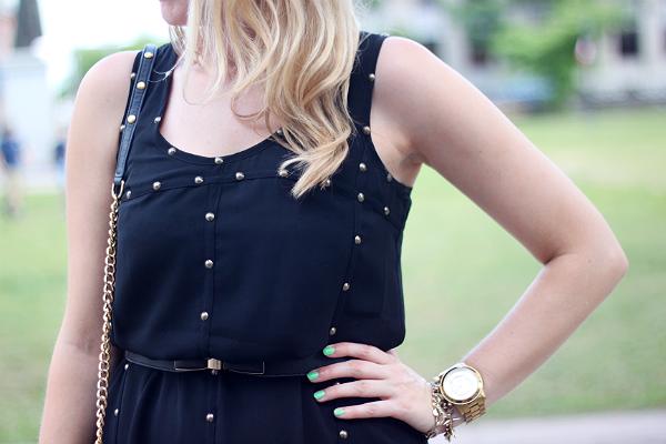 ivy + blu black studded shift dress