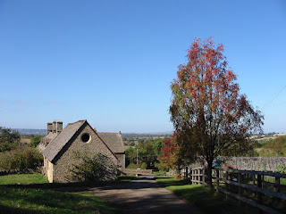 Wide views in autumn sunshine, Cotswolds, England