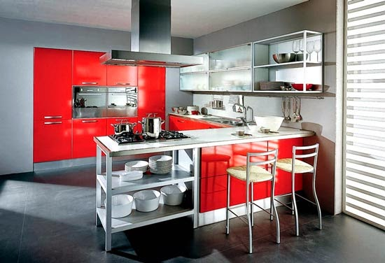 New modern design interior red kitchen interior design Modern kitchen design magazine