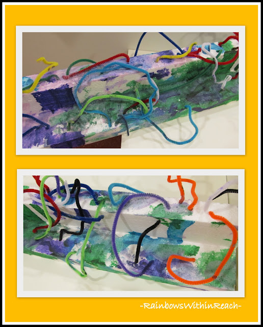 photo of: Pipe Cleaners and Styrofoam Sculpture, Painted in Preschool Art Experience (close up) 