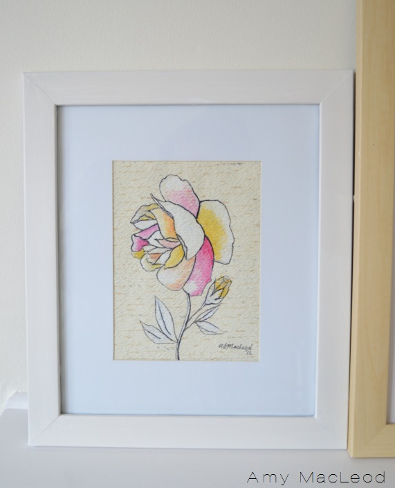 DIY flower art and frame, by Amy MacLeod at www.fivekindsofhappy.com blog