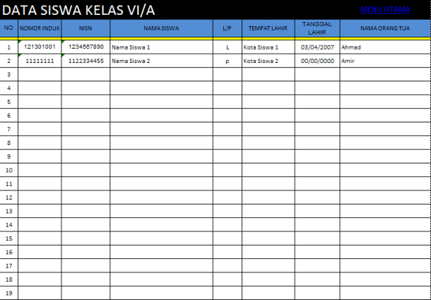 Aplikasi Tabungan Siswa dengan Microsoft Excel