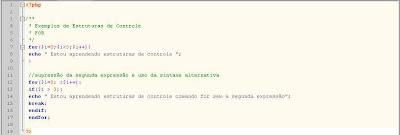 Exemplo de sintaxe comando for