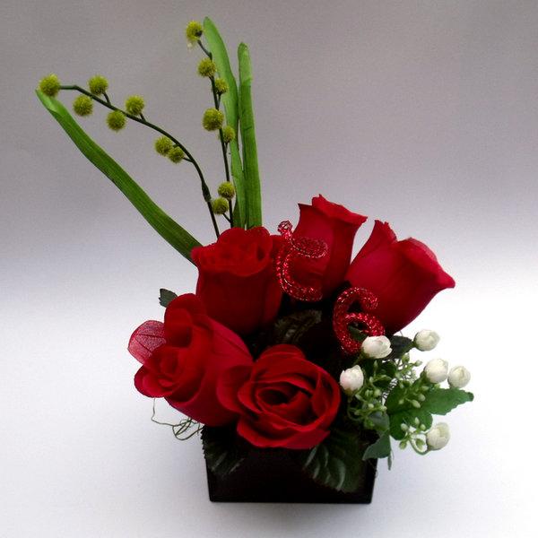 Centros de mesa para boda centro de mesa con rosas rojas - Centro de mesa con flores artificiales ...
