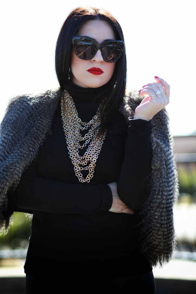 faux-fur-vest-gold-chains-stila-fiery-lipstick-house-of-harlow-chelsea-sunglasses-amber-king-fashion-blogger-san-diego-jcrew