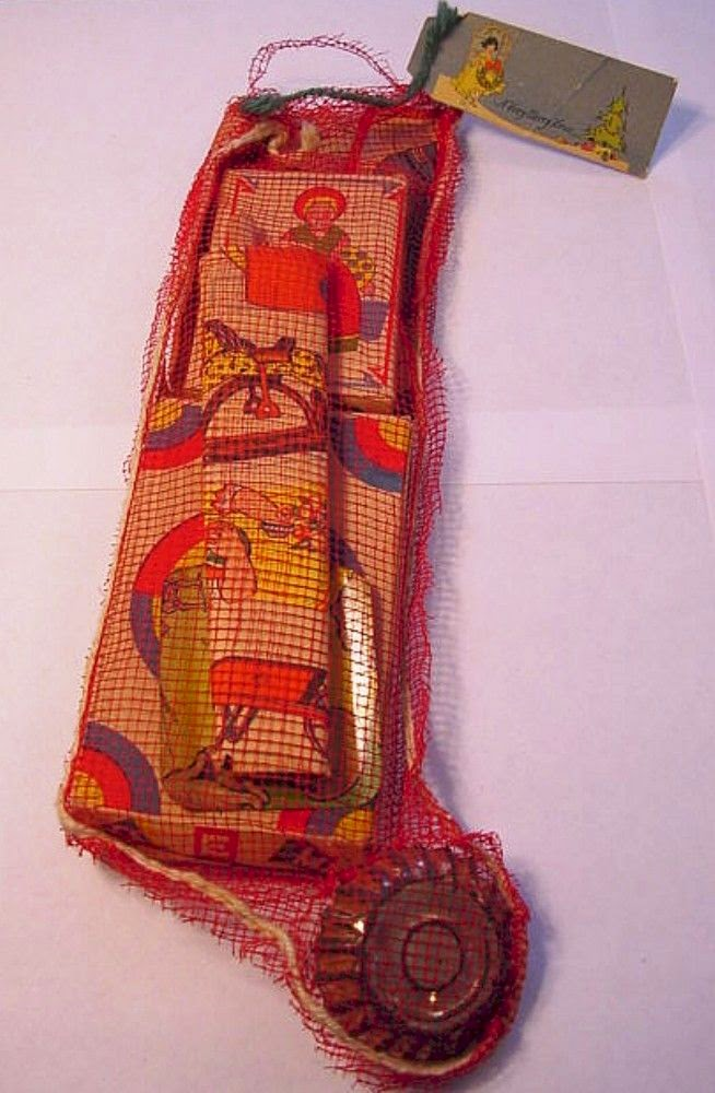 vintage 1930 pre filled mesh christmas stocking - Pre Filled Christmas Stockings