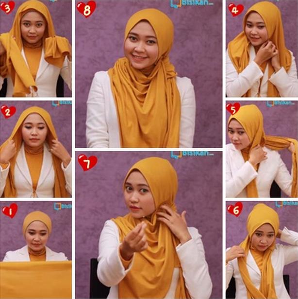 Tutorial Hijab - Cara berhijab Pashmina Simple dan islami