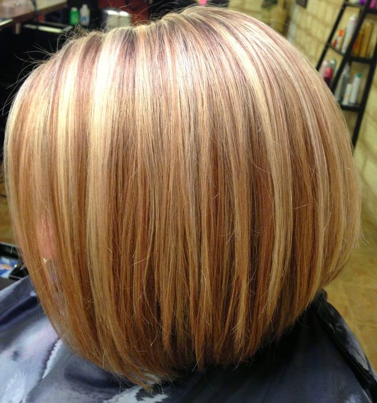 short angled bob hairstyles - Coloration Meche Blonde