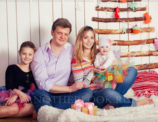 молодая семья фотосессия зимой