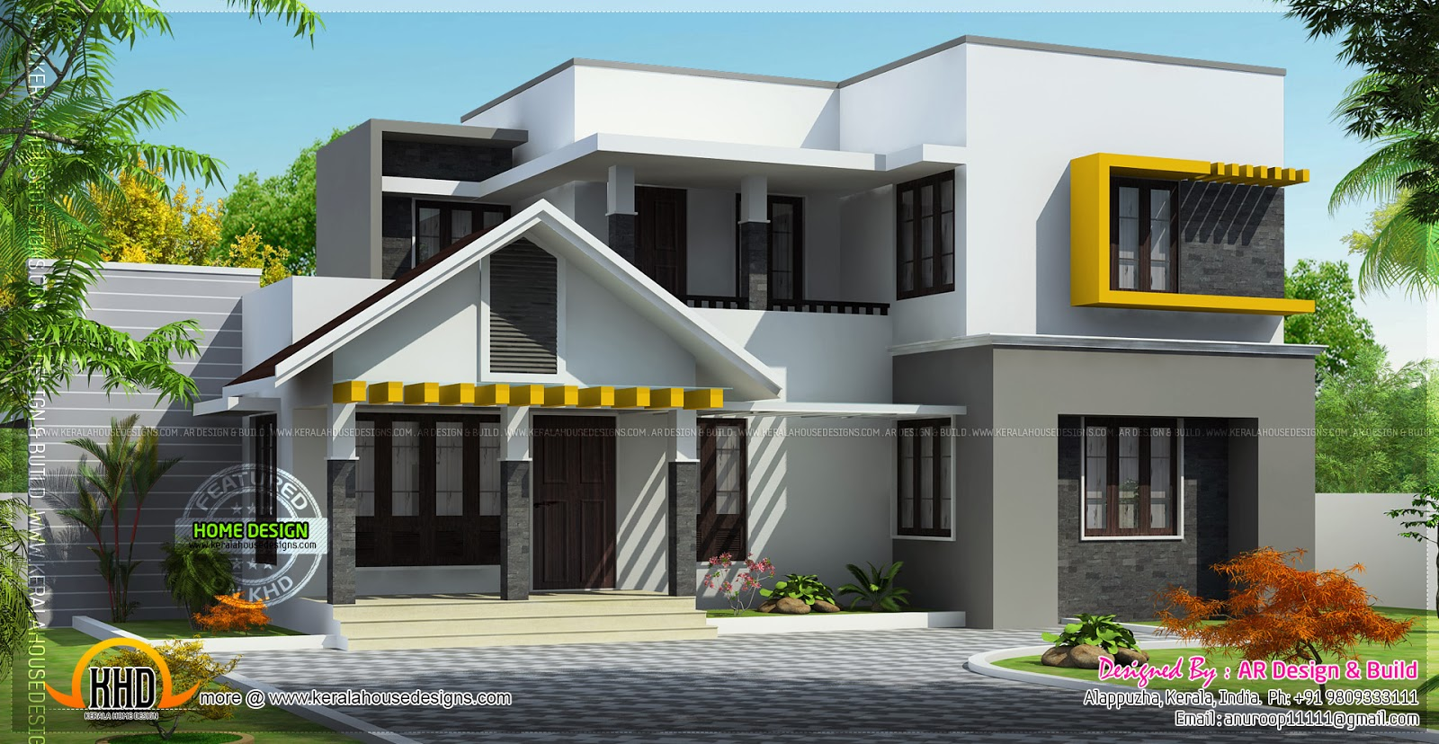 Beautiful modern mix home kerala home design and floor plans for Beautiful modern house designs