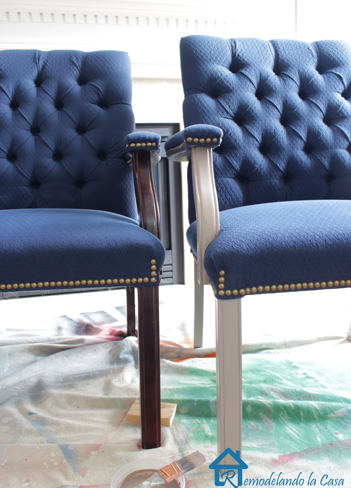 fabric painted chairs remodelando la casa. Black Bedroom Furniture Sets. Home Design Ideas