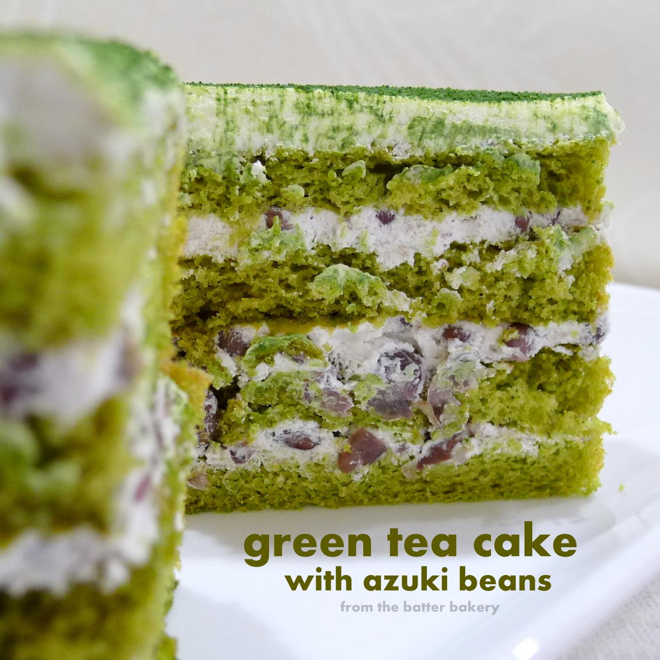 Green Tea Cake Green tea cake with azuki