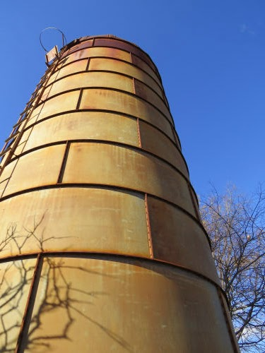 antique sheet metal silo