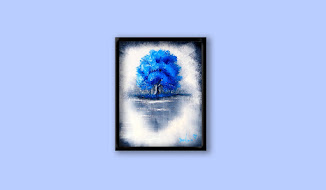 Blue Tree on black & white ABSTRACT background, Oval Brush step by step PAINTING tutorial, 120
