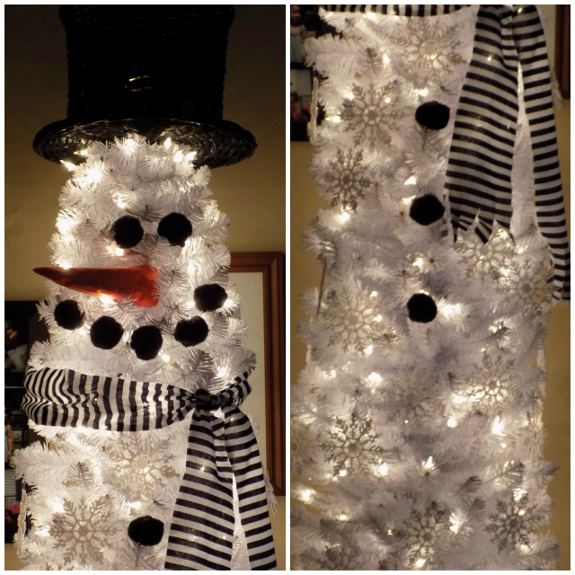 for the past few years ive been contemplating a second christmas tree for our dining room so that i could decorate it as a big snowman