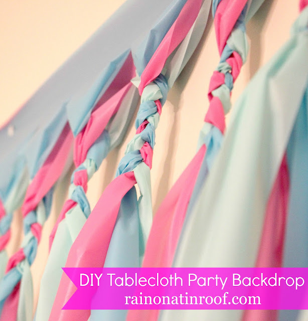 DIY Party Background Tutorial: Cheap & Easy {rainonatinroof.com} #party #DIY #backdrop #tablecloth #decoration #tutorial