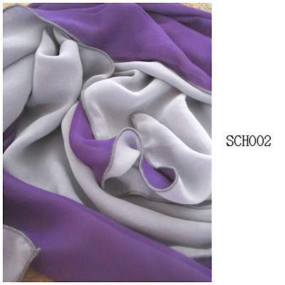 shawl chiffon 2 layer purple light grey