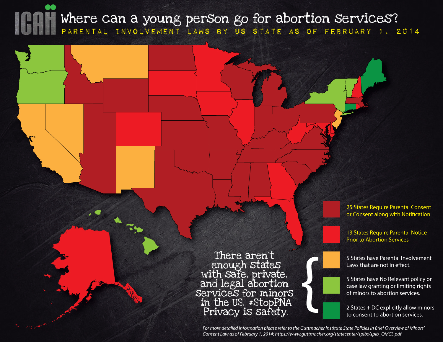 March Viva La Feminista - Map of underage abortion laws in the us 2016